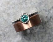 Teal Topaz Rose White Gold Wedding Set For Her Modern Romantic Blue-Green Spring Water Drops Bi-Color - Rain Stain