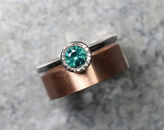 Teal Topaz 14K Rose White Gold Wedding Set For Her Modern Romantic Blue-Green Spring Water Zen Drops Bi-Color Bridal Ring Band - Rain Stain