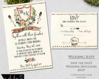 2 Piece Invitation Kit, Wedding Invitations, Rustic Floral, Wedding Suite Set, Thank You Cards, Save the Date, Wedding Invitation