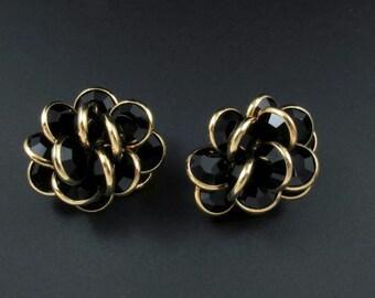 Swarovski Bezel Set Crystal Earrings, Crystal Cluster Earrings, Black Crystal Earrings, Swarovski Earrings, Gold Earrings, Black Earrings