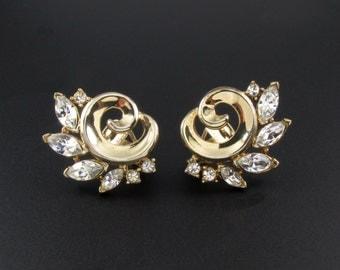 Trifari Earrings, Rhinestone Earrings, Alfred Philippe Earrings, Gold Earrings, Early Trifari Earrings