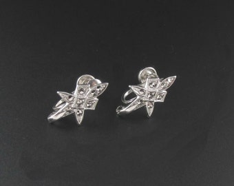 Sterling Silver Marcasite Earrings, Sterling Silver Earrings, Silver Earrings, Sterling Earrings, Star Earrings