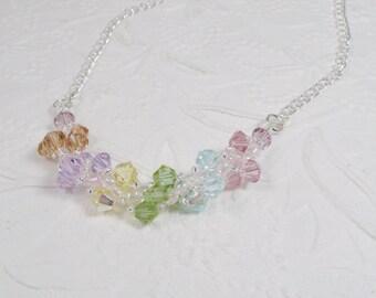 Swarovski Necklace Woven Pastel Spiral Necklace Chain Necklace