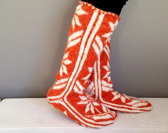 Snow Pattern, Comfy, Orange Slippers, Warm Slippers, Christmas Gift, Women Slippers, Mukluk
