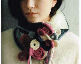 Japanese Knitting & Crochet Pattern Book, Knit Scarf, Snood, Cap, Bag, Warm, Comfortable Clothing + Wrap, Easy Knitting Tutorial, B1684