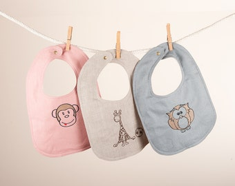 Bibs, Baby/Toddler Bibs, linen and cotton flannel lining. with embroidery set of 3.
