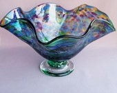 Hand Blown Art Glass Fruit  Bowl on Foot,Multicolored,Bubble Pattern