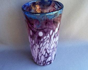 Hand Blown Art Glass  Vase , Violet, Lavender and Sky Blue Color.