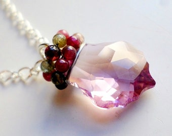 Light pink Swarovski crystal pendant and watermelon tourmaline beads-Swarovski necklace-watermelon tourmaline-gemstone beads-Swarovski