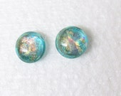 Mint Green and Peach Dichroic Glass Stud Earrings - Fused Dichroic Glass Jewelry - Pierced Dichroic Earrings - 133-16