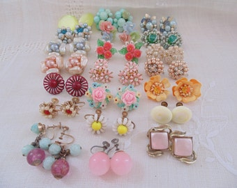 21 Prs Vintage Clip and Screw Back Earring Lot Vintage Earrings Clips Jewelry Lot Resale Lot Resell Lot