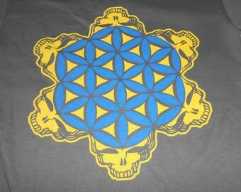 T-Shirt - 2-Color Stealie of Life (Yellow/Blue on Charcoal)