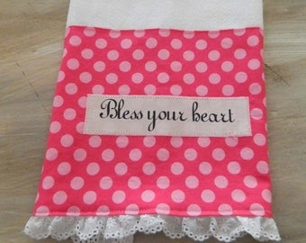 Bless your heart, pretty pink polka dot tea towel, southern saying