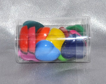 Heart Crayons, Total of 15 Crayons That Come in a Round Container.  Boy or Girl Kids Unique Party Favors, Valentine Favors