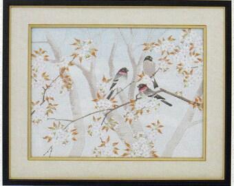 Tokyo Bunka Shishu 33 Birds Cherry Blossoms Japanese Punch Embroidery Kit