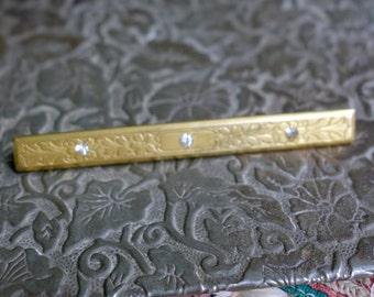 Antique Edwardian Gold Filled Paste Stones Bar Pin