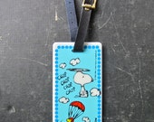 Vintage Peanuts Snoopy and Woodstock Luggage Tag