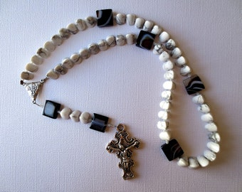 White and Gray Modern Rosary of Howlite with Chi Rho Center