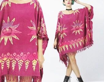 25% off SALE Hippie Beach Caftan Dress Ethnic Tribal Print Kaftan Dress Batik Print Tie Dye Festival Boho Fringe Hem Dress Slouchy Draped Ov