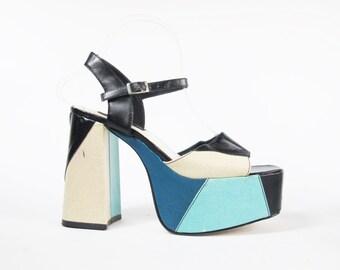 1990s Chunky Platform Heels Club Kid Raver Monster Ankle Strap Heels Disco Blue Platform Sandals Patchwork Shoes Multi Color Size 8.5