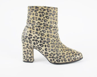 90s Leopard Boots Leopard Print Ankle Boots Vintage Suede Leather Boots Cheetah Animal Print Boots Chunky Heeled Boots Size 7.5