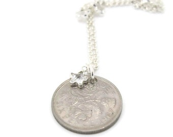 Sixpence Anklet.  Sterling Silver Chain with Blue, Pink, Black or Clear CZ Stars. Queen Elizabeth II. Pick Your Own Year. 1953 to 1967