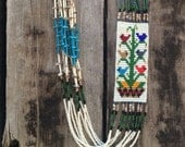 Vintage seed bead necklace by Navajo artist Barbara Phillips, Tree of Life Navajo rug design seed bead necklace, Native American beadwork