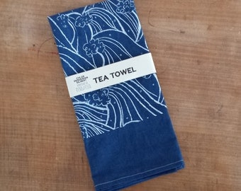 Organic Cotton Hemp Waves Pattern Tea Towel in Indigo