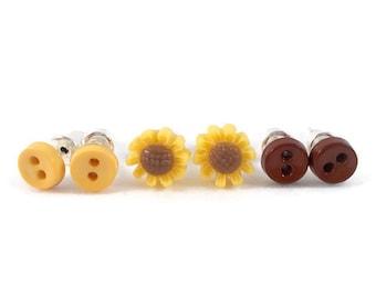 Tiny Earring Studs, Little Sunflowers and Buttons, Earrings for Sensitive Ears, Little Flower Earrings, Tiny Button Earrings, Cute Earrings