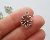 14 Four leaf clover charms antique silver tone L44
