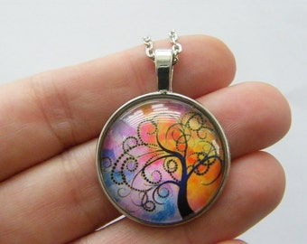 1 Tree of life glass cabochon pendant antique silver tone NB17