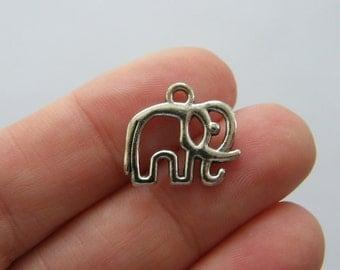 12 Elephant charms antique silver tone A420