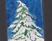 Evergreen Tree - ACEO - Original Hand Painted Watercolor - Christmas - Snow - Midnight Blue -
