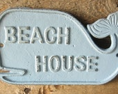 Cast Iron Whale Beach House Sign Painted in Light Blue Plaque, Whale Decor ,Beach Sign