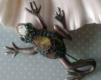 Vintage Frog Brooch,Frog,Frog Jewelry, Frog Abalone Brooch,Tree Frog,Taxco Frog,Taxco Jewelry