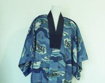 Vintage Men's casual wool JUBAN KIMONO inner for winter navy blue TOKAIDO kyoto edo motifs size Extra small