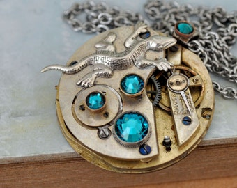 steampunk necklace, IN THE MIST, antique brass pocket watch movement necklace with small lizard charm