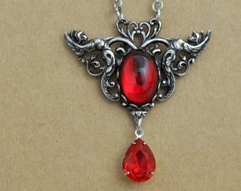 GUARDIANS, antique silver dark angel necklace with vintage ruby red glass cab
