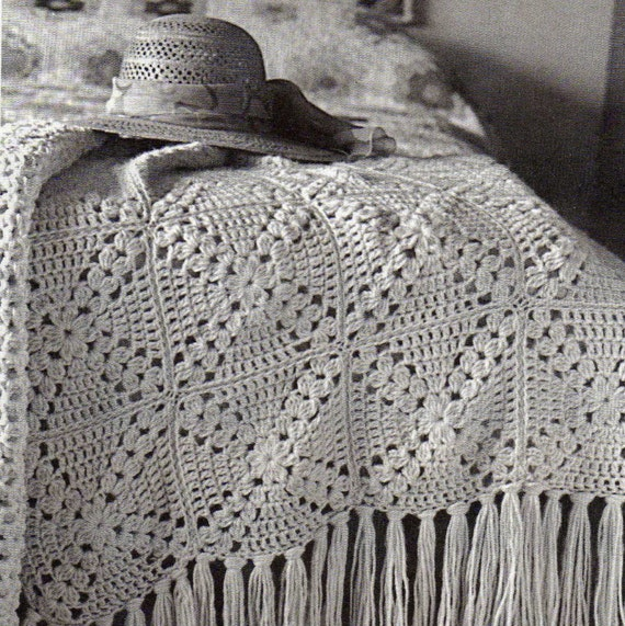 Crochet Pattern Vintage Granny Square Motif Afghan Blanket