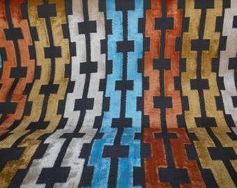 GEOMETRIC ABSTRACT teal orange black cotton blend CHENILLE upholstery fabric, 08-76-20-1013