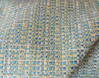 VIVID Turquoise aqua yellow green woven cotton SOFT CHENILLE upholstery fabric home decor, 16-24-24-1015