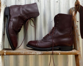 vintage, ankle lace up boot, dark brown, men's size 7 1/2