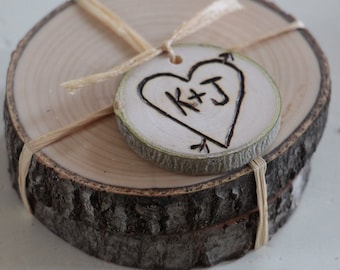 Rustic Wedding Favor Personalized Pair of Woodland Coasters - 25 Pairs