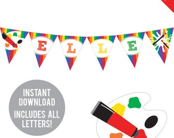INSTANT DOWNLOAD Art Party - DIY printable pennant banner - Includes all letters, plus ages 1-18