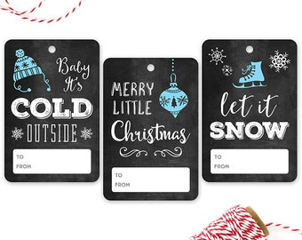 PRINTED Chalkboard Gift Tags {with Blue} - Set of 12