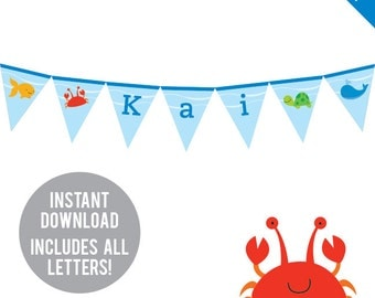 INSTANT DOWNLOAD Under the Sea Party - DIY printable pennant banner - Includes all letters, plus ages 1-18