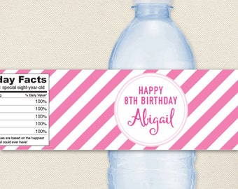 Pink Stripe Water Bottle Labels - 100% waterproof, personalized water or soda bottle labels