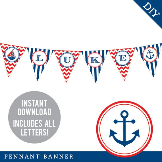 INSTANT DOWNLOAD Nautical Party - DIY printable pennant banner - Includes all letters, plus ages 1-18