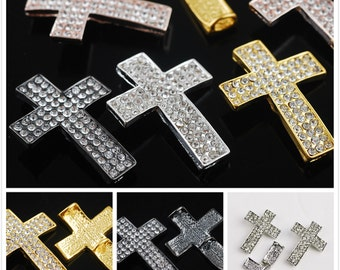 5pcs 32x24mm Crystal Rhinestone Cross Curved Side Ways Charms Connector Jewelry Making Findings---4 Colors DZ039