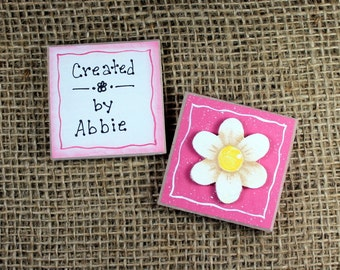 Personalized Artwork Display Magnet,Daisy Flower Magnet, Refrigerator Magnet Set, Wooden, Handpainted